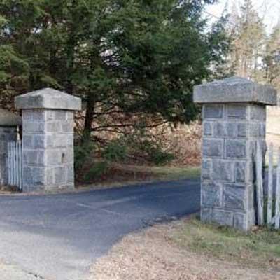 photo: Stone pillars at entrance