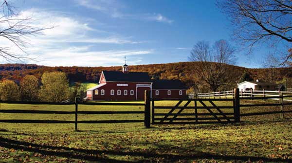 photo: stable sourrounded by fence and pastures