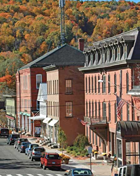 photo: buildings along Main Street in Canton, CT
